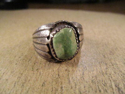 Vintage Sterling Silver & Turquoise Ring, Unsigned, Size 8.5, 8.5g