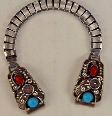 Vintage TURQUOISE & CORAL Sterling Silver Women's Watch Tips & Band Signed STC