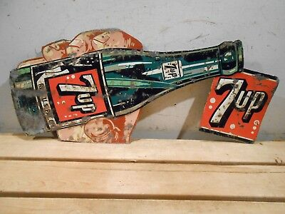 """7Up Cola 24"""" X 10"""" Hand Holding Soda Bottle Swimmer Girl Tin Sign * No Reserve"""
