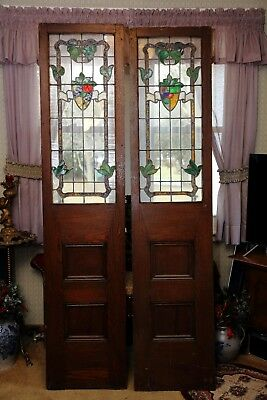 antique large oak and leaded glass double door panels or side light panels