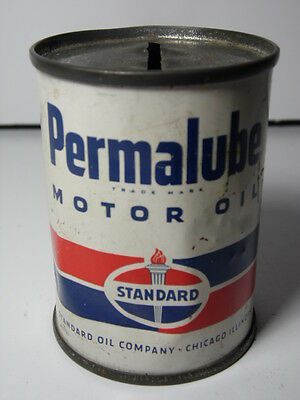 VTG 1950s STANDARD MOTOR OIL CHICAGO IL Advertising Oil Can Bank Gas Petroliana