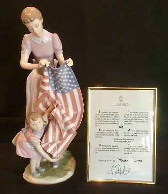 """Lladro #6520 """"Fourth Of July"""" ...new In Box...american Flag...limited Edition!"""