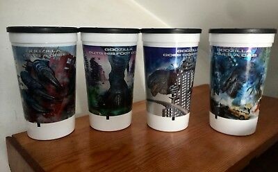 Set of 4 1998 Godzilla Taco Bell Promotional Collectors Cup New Game Sealed