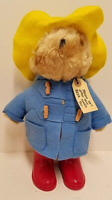 "Vintage 1981 Eden Paddington Bear Stuffed Animal Blue Coat Yellow Hat 14"" CUTE!"