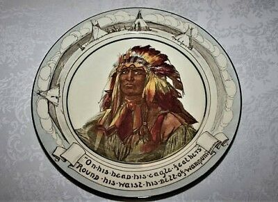Vintage Antique Royal Doulton Hiawatha Series Native American Indian Chief Plate