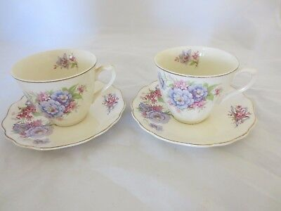 "Rare Antique J & G Meakin ""bridal Bouquet"" Pattern Set Of 2 Cups And Saucers"