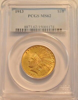 1913 $10 PCGS MS 62 Gold Indian Eagle, Uncirculated Ten Dollar, Sharp Type Coin