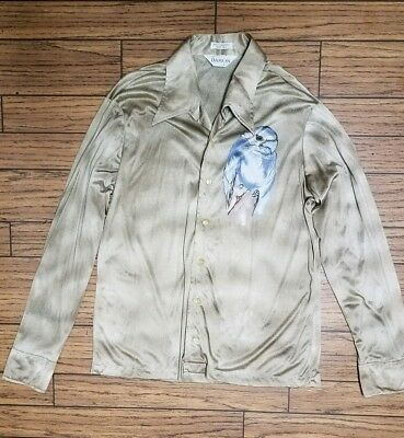Vintage 1970's Disco Man's Shirt By Damom With Parrot Art Size Large 100% Nylon