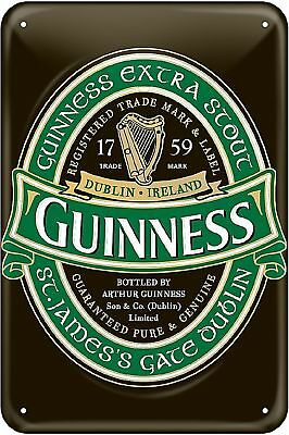 "Guinness Ireland Green Label Embossed Metal Sign 12"" x 8"" New"