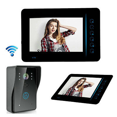 "7"" TFT Touch Wireless Video Door Phone Doorbell Waterproof Night Vision Black"