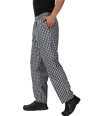 JXH Chef Uniforms men's black and white checkered chef pants with elastic... New