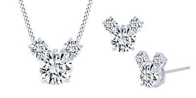 Round Shape White CZ Mickey Mouse Jewelry Set 14K Gold Over Valentine Gifts