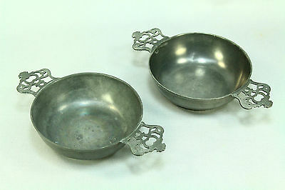 ! Antique 18th c. British Pair of Double-Handled Porringer Bowls, Marked