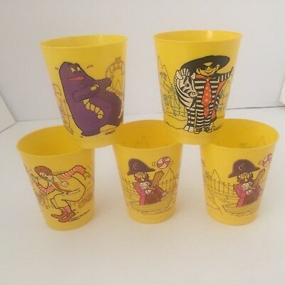 1978 McDonald Plastic Cups Set of 5 Grimace, Captain Crook, Ronald, Hamburgler
