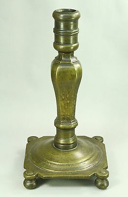 !RARE Large 1600/1700s BAROQUE Heavy Brass Candle Holder Candlestick on Bun Feet