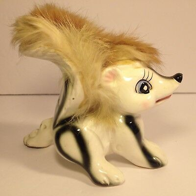 VTG Skunk Figurine RARE Reverse Color Wales Ceramic Porcelain Fur 1950's Kitsch