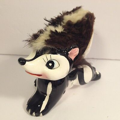 Vintage Skunk Figurine Wales Ceramic Porcelain Fur Hand Painted 1950's Kitsch
