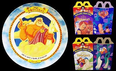 Vintage 1997 Walt Disney's Hercules Zeus Plate and 2 McDonald's Happy Meal Boxes