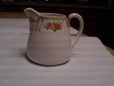 """Vintage Hand Painted Nippon Creamer 3"""" Tall Floral Design"""