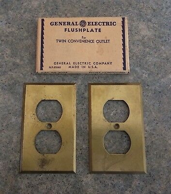 Two Vintage GE General Electric Brass Outlet Plates Covers USA