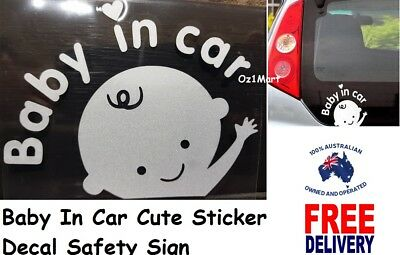 2 Pcs Baby In Car Baby On Board Sticker Decal Car Windows Windscreen Safety Sign