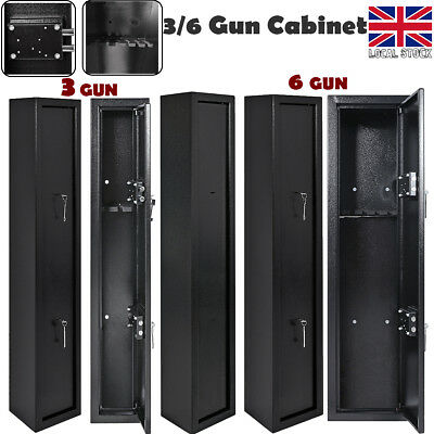 3/6 Gun Cabinet Security Locking Vault Safe Storage Shotgun Rifle Firearm Steel