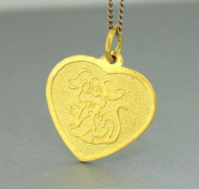 """Pure Gold """"GOOD LUCK HEART PENDANT WITH DOG MOTIF"""" Guaranteed Genuine 24ct Gold"""