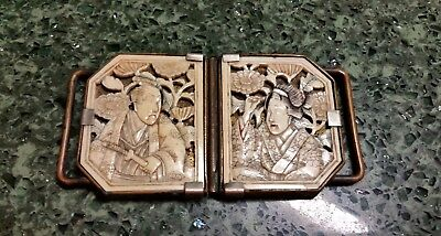 Vintage Bovine Bone Celluloid Japanese Chinese Buckle Mounted Metal (2 Piece)