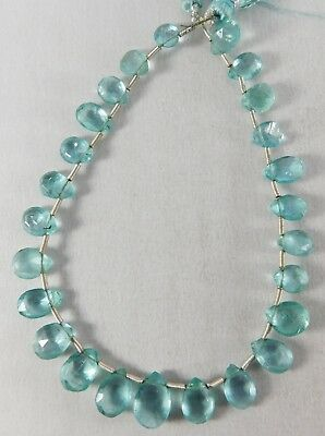 """8"""" 100% Natural Apatite Faceted Pear Shape Top Rich Beads 7-11 mm. IG22-03"""