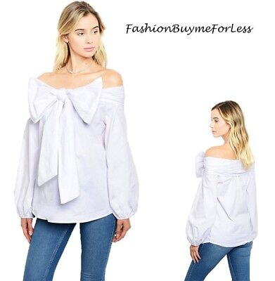 Haute BOHO Ivory Victorian Bow Tie Off Shoulder Peasant Tunic Shirt Top S M  L XL b62120ff7