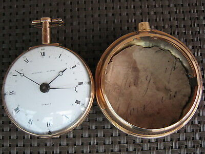 Spindel Taschenuhr Pocketwatch Norton London Gold 18/22 Karat. 2 Gehäuse, Schlag