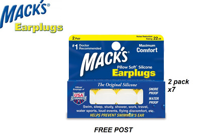 Macks Pillow soft Moldable Silicone Earplugs 7x 2 pair pack total 14 pairs