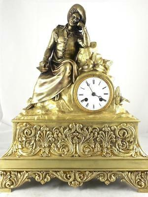 Spectacular antique French 1849 Japy Fils gilt bronze Figural 8 day mantle clock