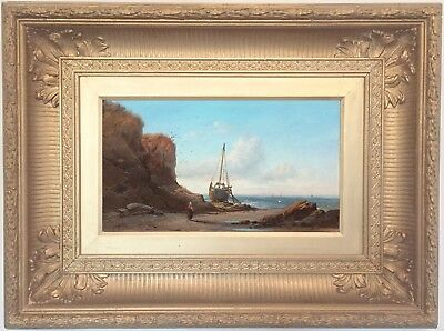 Fishing Boats off the Coast Antique 19th Century English Marine Oil Painting
