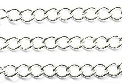 Silver Plated Twist Curb Chain Jewellery Making Findings 6mm x 4mm - lady-muck1