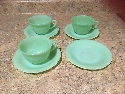 3 Vintage Fire King Green Jadite Oven Glass Jane Ray Cup and Saucer Sets Jadeite