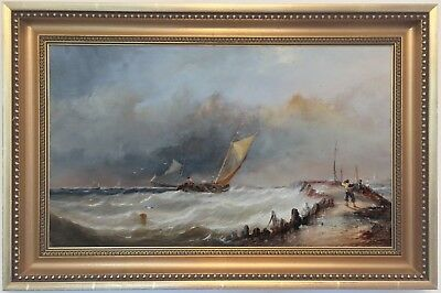 Sailing Boats off the Coast Antique 19th Century English Marine Oil Painting