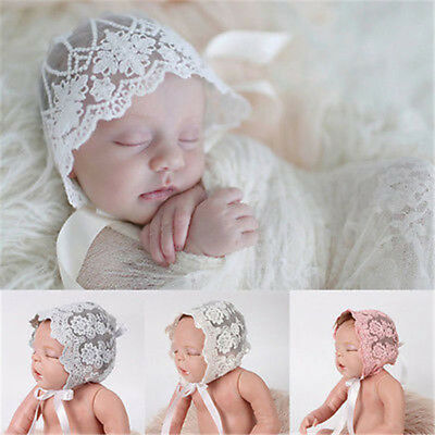 Newborn Baby Girl Hat Baptism Photo Prop Lace Bonnet Tucks Cap For 0-3 Months