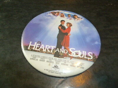 Heart And Souls Pin Back Video Store Promotional Button Robert Downey,Jr. 1993