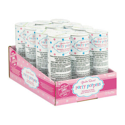 Gender Reveal Baby Shower Spring Loaded Confetti Poppers x 12 - GIRL