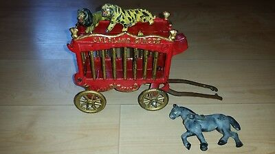 Kenton Cast Iron Overland Circus Wagon - Single Horse - Tiger and Lion