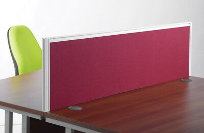 Deluxe Blue Fabric Desk Mounted Screen with White Frame A1400 1400mm