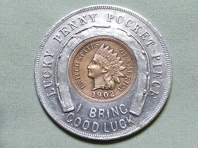 Rare 1902 Encased Indian Head Penny Good Luck Token - Lucky Mascot - Item 8