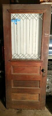~ Antique Stained Leaded Glass Door ~ 32 X 79 Restore  Old