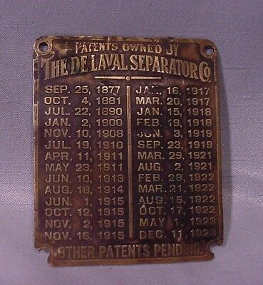 Very OLD Metal Tag Label Sign from DeLaval Cream Separator Co. Dates 1877-1923