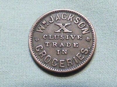 Rare Civil War Token - Wm. Jackson Groceries, Jackson Hall, Michigan - Item 10
