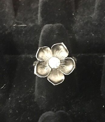 Stephen Dweck Sterling Silver & Diamond Magnolia Flower Cocktail Ring Size 6