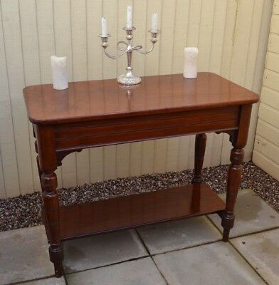 Gorgrous Mahogany Side Table Antique Victorian Turned Legs Console Hall Table