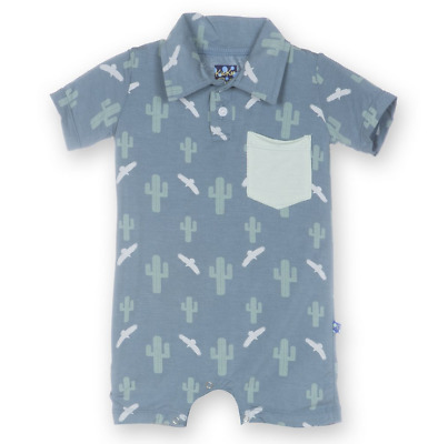 KicKee Pants 3-6 Month Baby Boy Print Short Sleeve Polo Romper with Pocket *NWT*