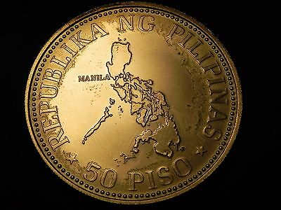 PHILIPPINES 50 Piso 1976 Silver BU Map / I.M.F. Meeting